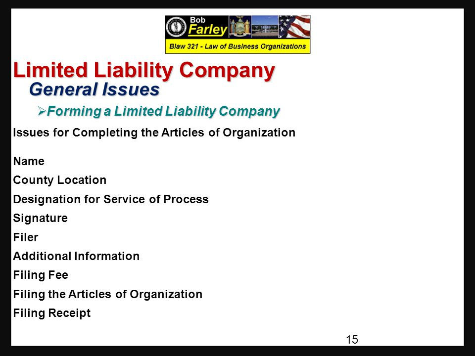 Limited Liability Company General Issues General Issues  Forming a Limited Liability Company Issues for Completing the Articles of Organization Name County Location Designation for Service of Process Signature Filer Additional Information Filing Fee Filing the Articles of Organization Filing Receipt 15