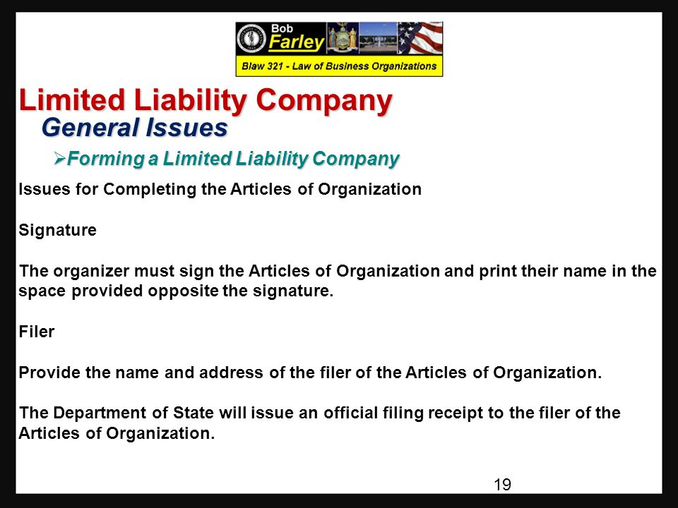 Limited Liability Company General Issues General Issues  Forming a Limited Liability Company Issues for Completing the Articles of Organization Signature The organizer must sign the Articles of Organization and print their name in the space provided opposite the signature.
