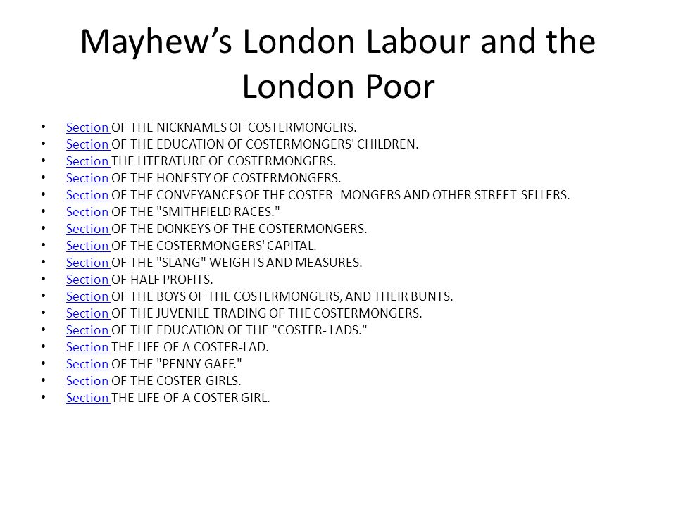 Mayhew's London Labour and the London Poor Section OF THE NICKNAMES OF COSTERMONGERS.