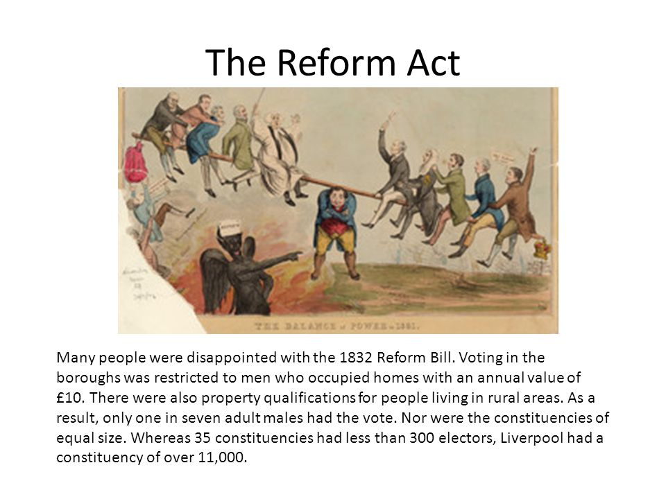 The Reform Act Many people were disappointed with the 1832 Reform Bill. Voting in the boroughs was restricted to men who occupied homes with an annual