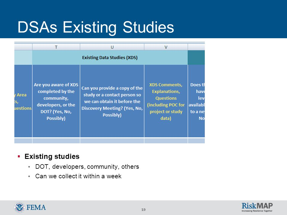 19 DSAs Existing Studies  Existing studies DOT, developers, community, others Can we collect it within a week