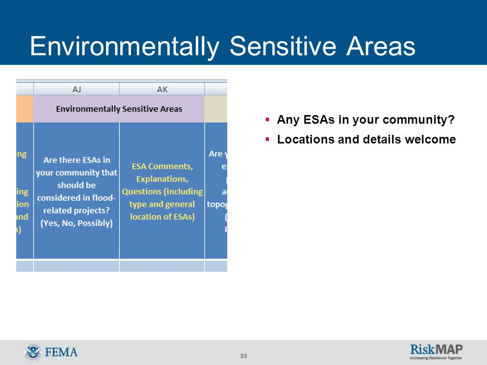 23 Environmentally Sensitive Areas  Any ESAs in your community?  Locations and details welcome