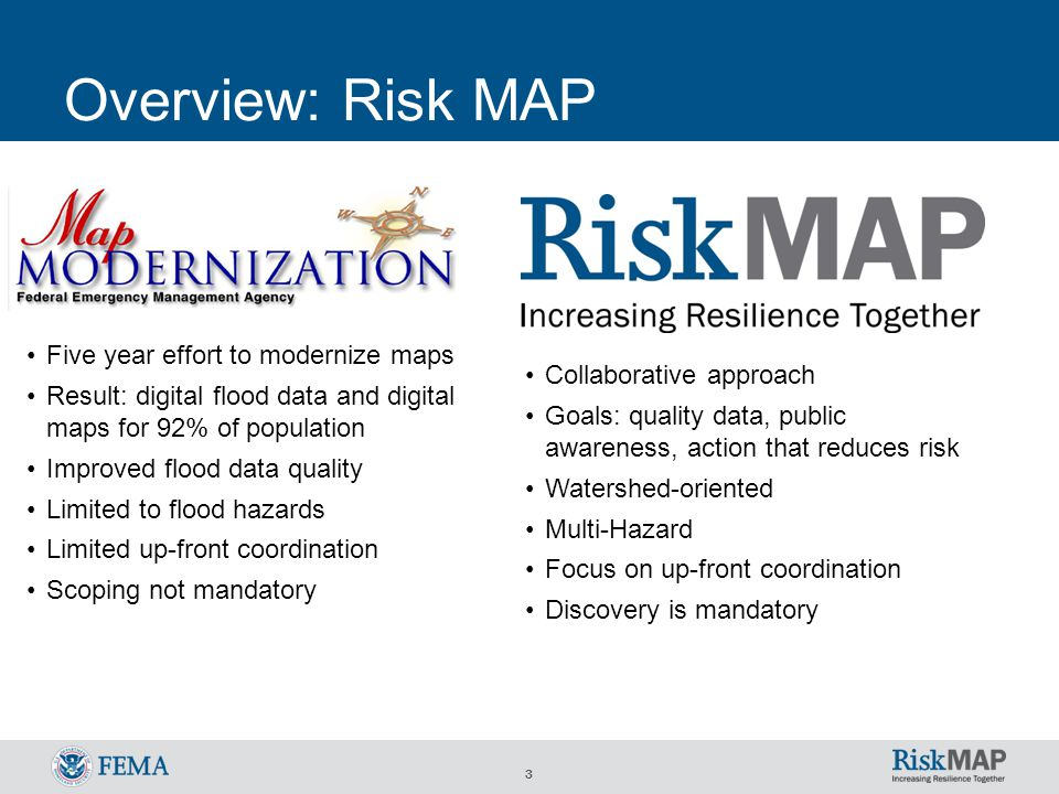 3 Overview: Risk MAP Five year effort to modernize maps Result: digital flood data and digital maps for 92% of population Improved flood data quality Limited to flood hazards Limited up-front coordination Scoping not mandatory Collaborative approach Goals: quality data, public awareness, action that reduces risk Watershed-oriented Multi-Hazard Focus on up-front coordination Discovery is mandatory