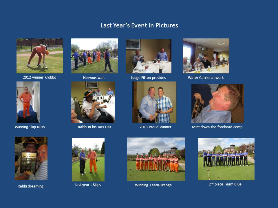 Last Year's Event in Pictures 2012 winner Krobbo Nervous waitJudge Fitton presidesWater Carrier at work Winning Skip RussRabbi in his Jazz Hat2013 Proud Winner Rabbi dreaming Mint down the forehead comp Last year's Skips Winning Team Orange 2 nd place Team Blue