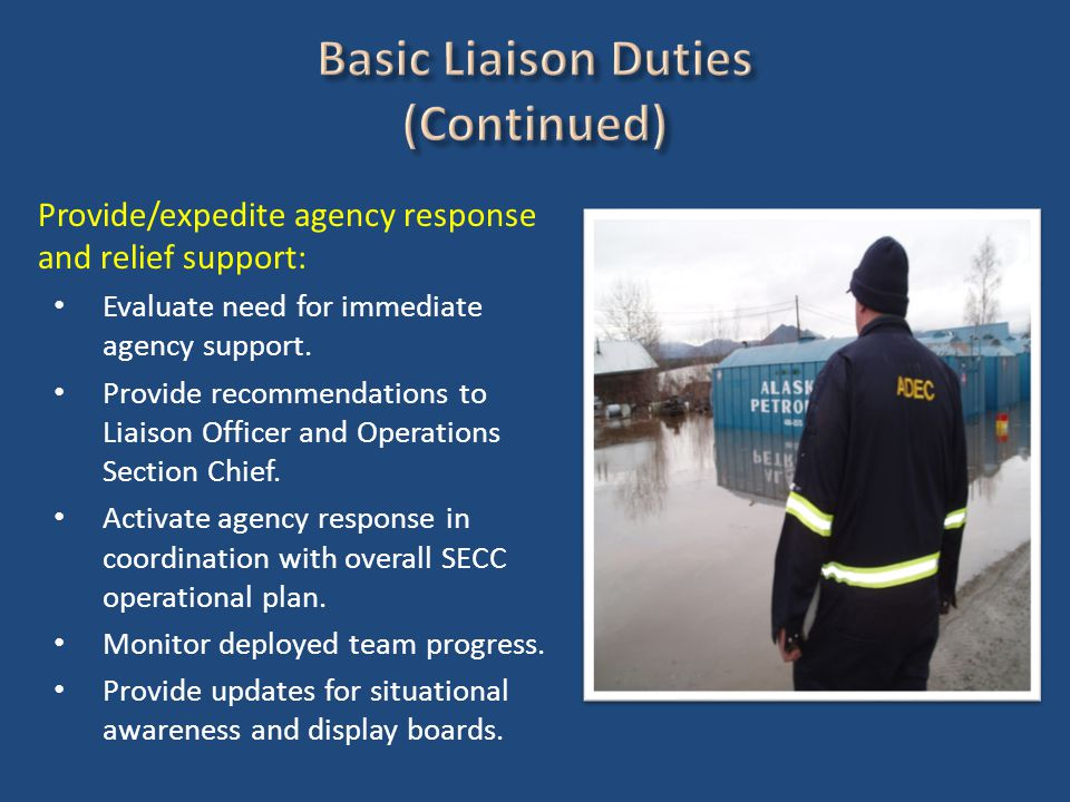 Provide/expedite agency response and relief support: Evaluate need for immediate agency support.