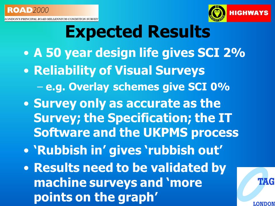 Expected Results A 50 year design life gives SCI 2% Reliability of Visual Surveys –e.g.