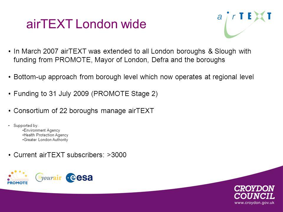 How airTEXT works CERC ADMS Urban model Moderate.High.