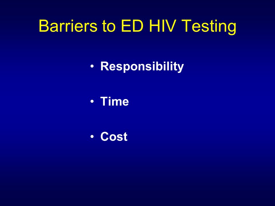 Barriers to ED HIV Testing Responsibility Time Cost