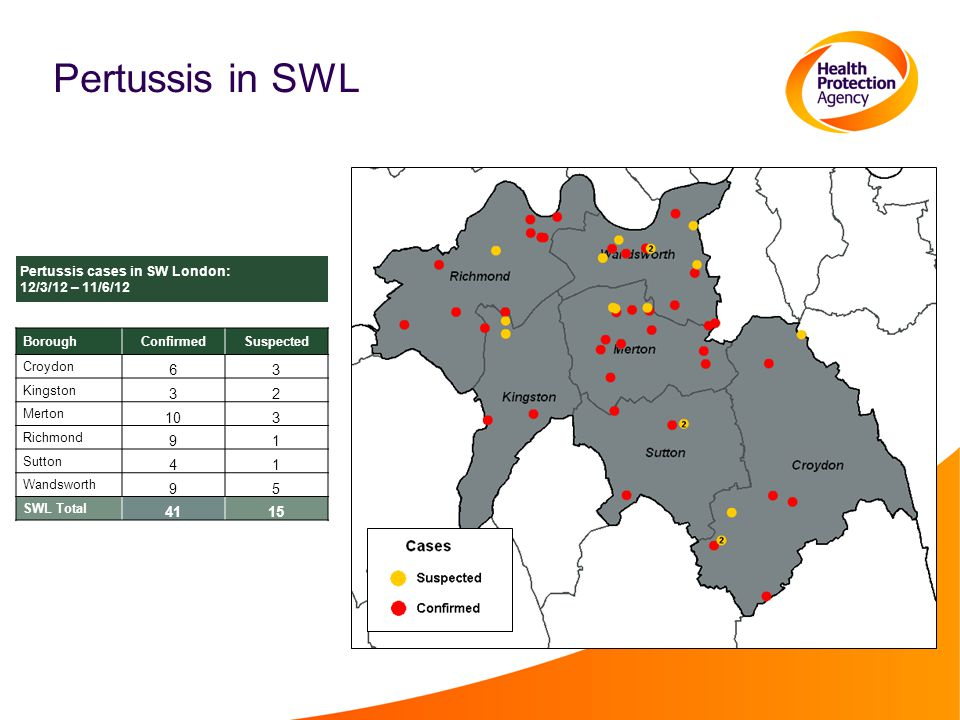Pertussis in SWL BoroughConfirmedSuspected Croydon 63 Kingston 32 Merton 103 Richmond 91 Sutton 41 Wandsworth 95 SWL Total 4115 Pertussis cases in SW