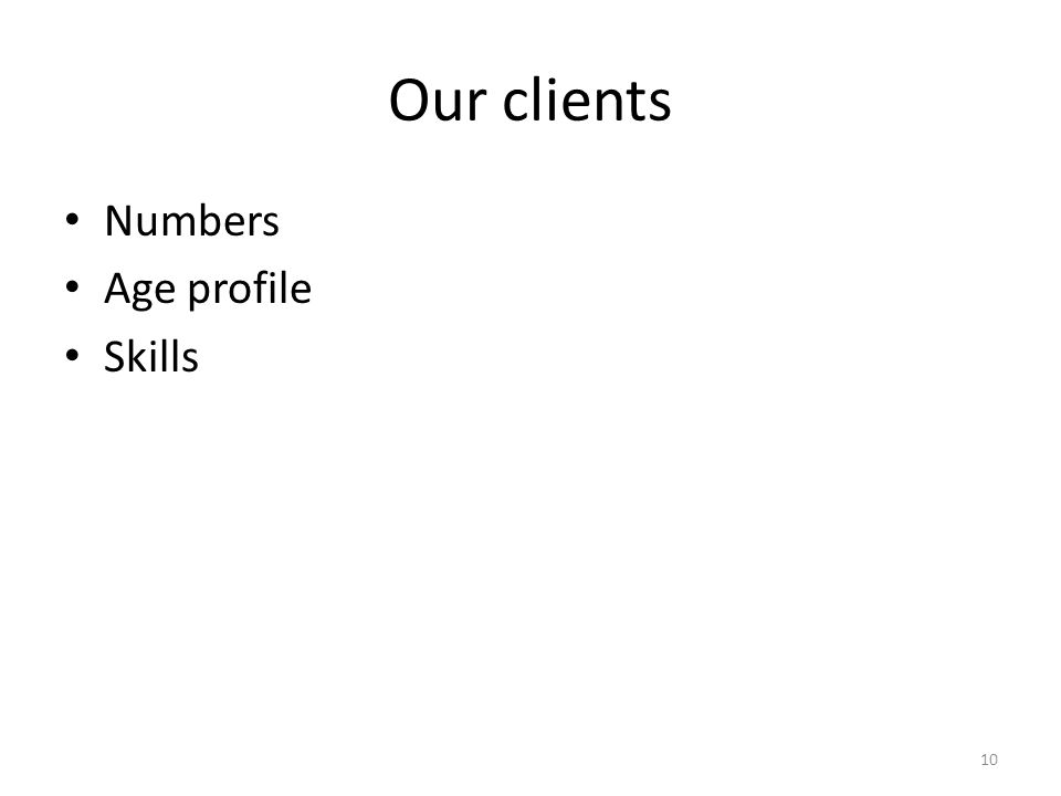 Our clients Numbers Age profile Skills 10