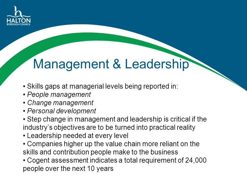 Management & Leadership Skills gaps at managerial levels being reported in: People management Change management Personal development Step change in ma
