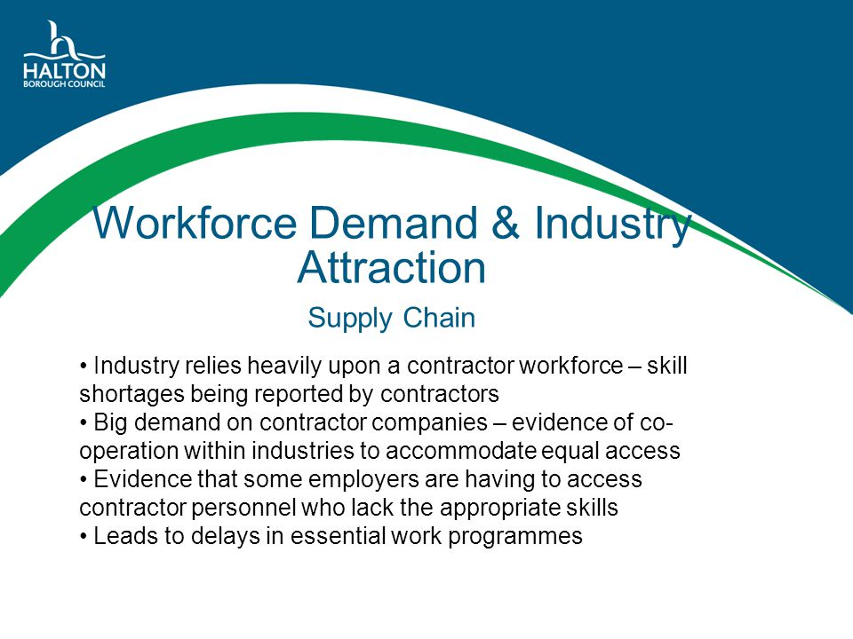 Workforce Demand & Industry Attraction Supply Chain Industry relies heavily upon a contractor workforce – skill shortages being reported by contractor