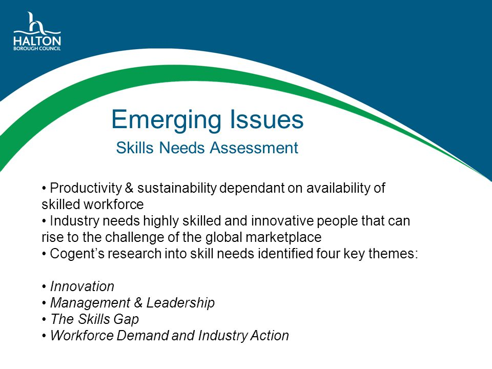 Emerging Issues Skills Needs Assessment Productivity & sustainability dependant on availability of skilled workforce Industry needs highly skilled and
