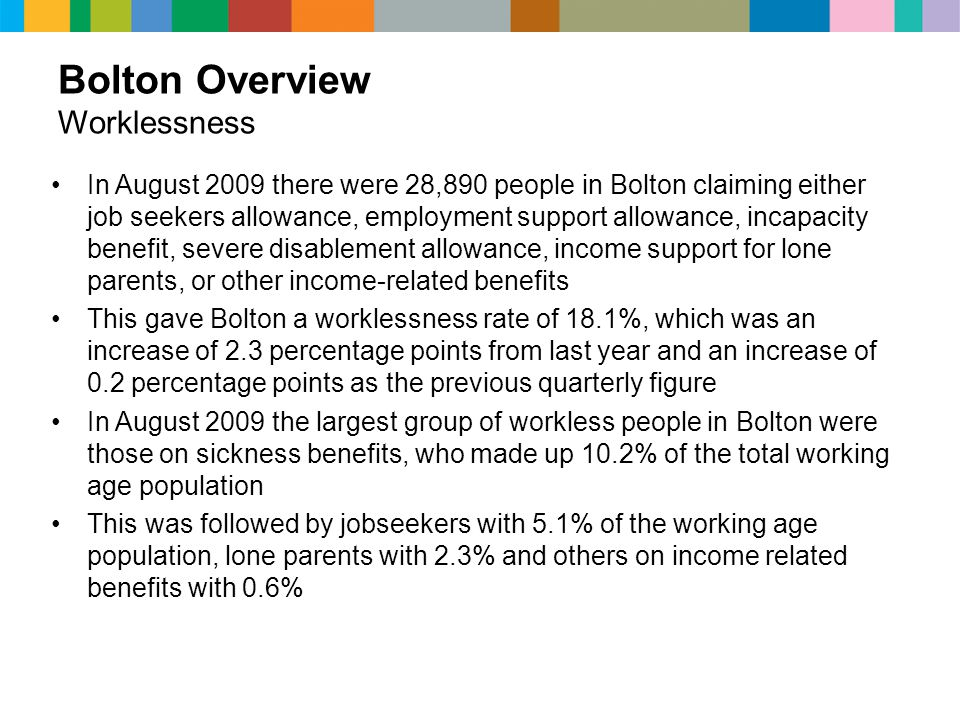 Bolton Overview Worklessness In August 2009 there were 28,890 people in Bolton claiming either job seekers allowance, employment support allowance, incapacity benefit, severe disablement allowance, income support for lone parents, or other income-related benefits This gave Bolton a worklessness rate of 18.1%, which was an increase of 2.3 percentage points from last year and an increase of 0.2 percentage points as the previous quarterly figure In August 2009 the largest group of workless people in Bolton were those on sickness benefits, who made up 10.2% of the total working age population This was followed by jobseekers with 5.1% of the working age population, lone parents with 2.3% and others on income related benefits with 0.6%