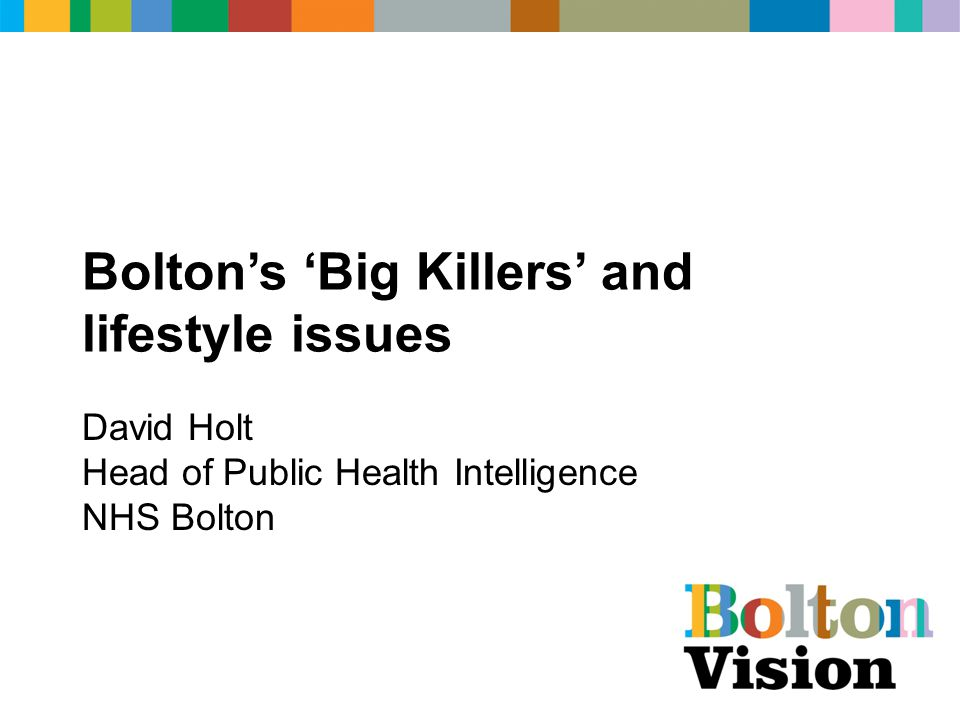 Bolton's 'Big Killers' and lifestyle issues David Holt Head of Public Health Intelligence NHS Bolton