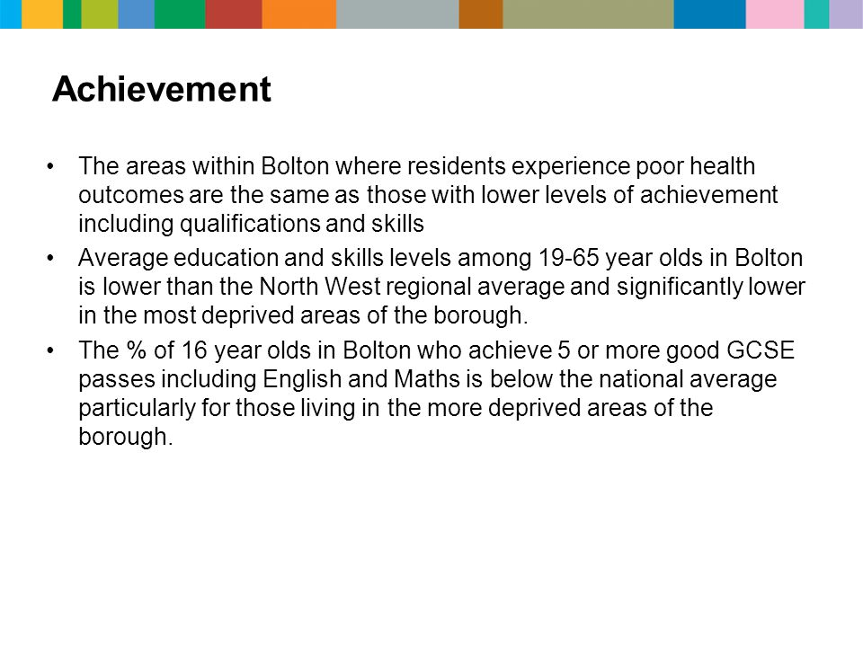 Achievement The areas within Bolton where residents experience poor health outcomes are the same as those with lower levels of achievement including qualifications and skills Average education and skills levels among 19-65 year olds in Bolton is lower than the North West regional average and significantly lower in the most deprived areas of the borough.