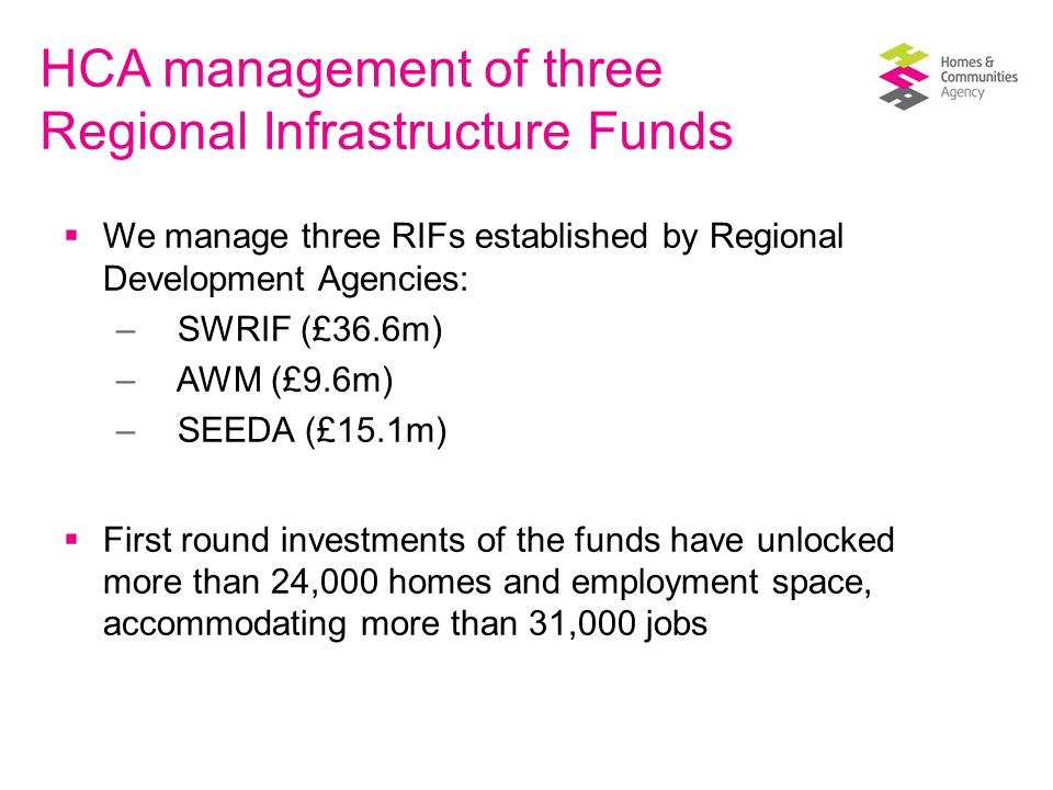 HCA management of three Regional Infrastructure Funds  We manage three RIFs established by Regional Development Agencies: – SWRIF (£36.6m) – AWM (£9.6m) – SEEDA (£15.1m)  First round investments of the funds have unlocked more than 24,000 homes and employment space, accommodating more than 31,000 jobs