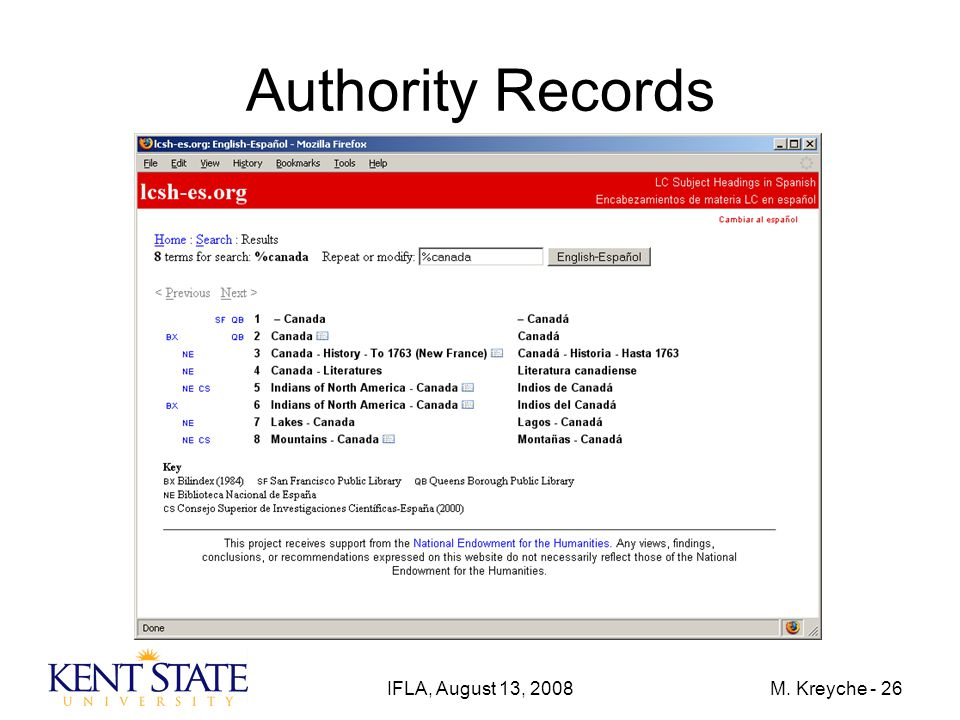 IFLA, August 13, 2008M. Kreyche - 26 Authority Records