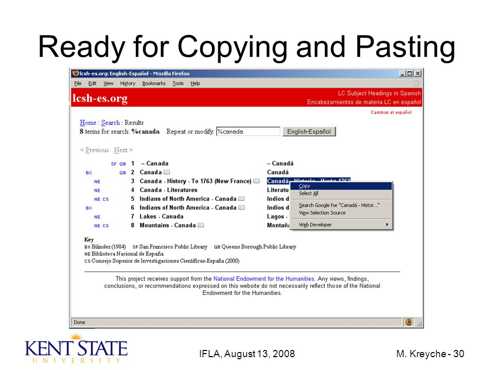 IFLA, August 13, 2008M. Kreyche - 30 Ready for Copying and Pasting