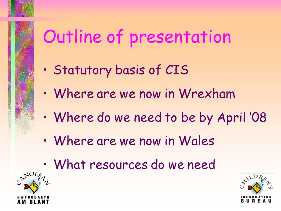 Improving Information Children's Information Services in Wales Phyllis Matthews Children's Information Bureau Manager Alma Belles Children's Information Bureau Assistant Manager