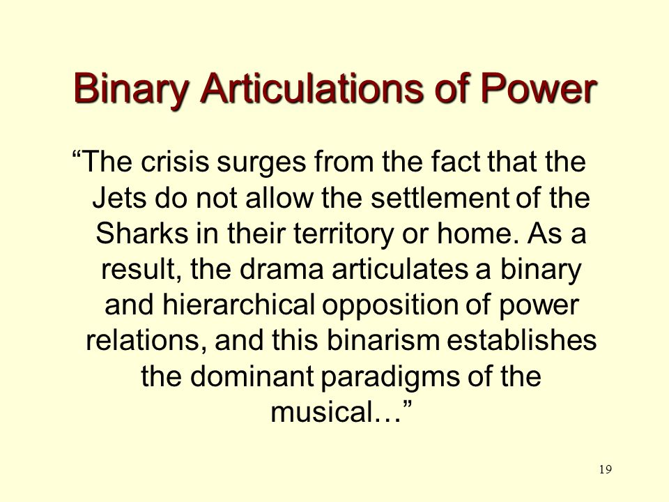 19 Binary Articulations of Power The crisis surges from the fact that the Jets do not allow the settlement of the Sharks in their territory or home.
