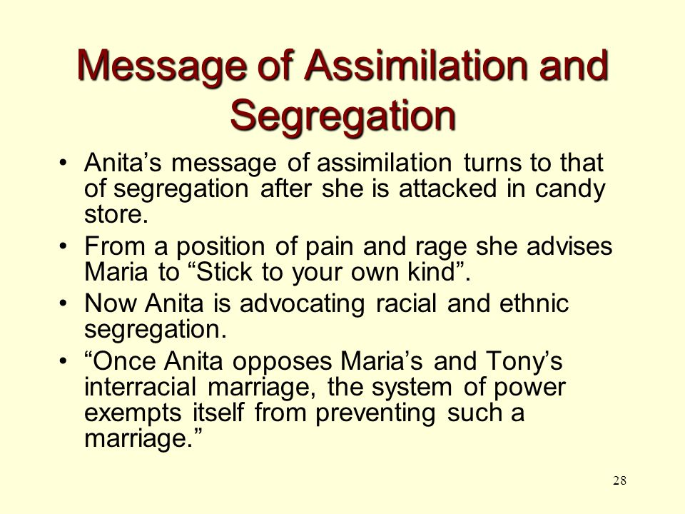 28 Message of Assimilation and Segregation Anita's message of assimilation turns to that of segregation after she is attacked in candy store.