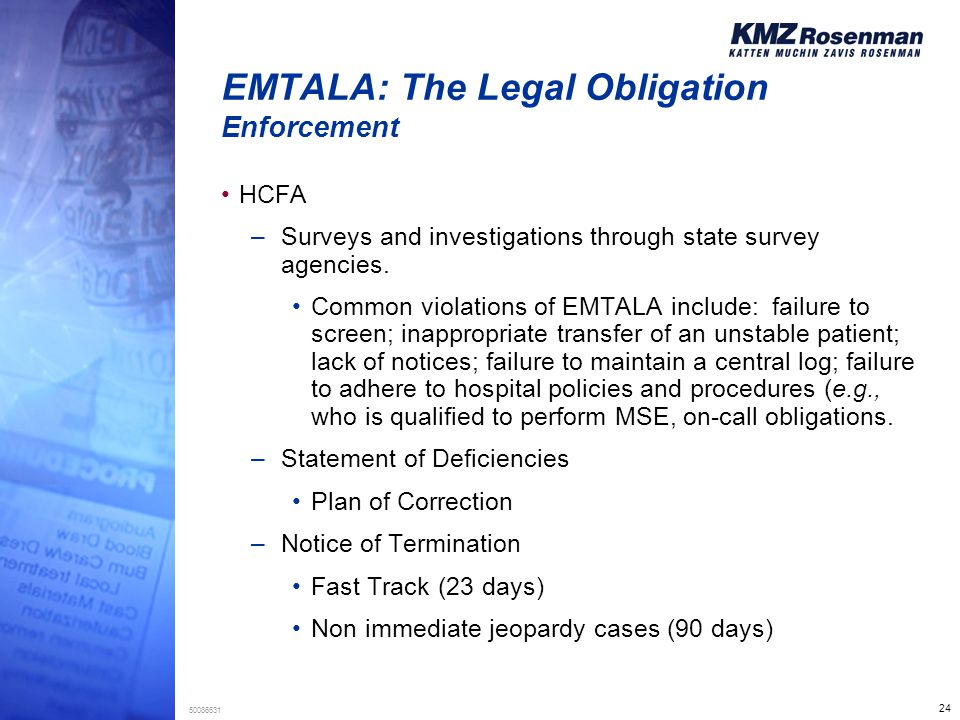 24 50086631 EMTALA: The Legal Obligation Enforcement HCFA –Surveys and investigations through state survey agencies.