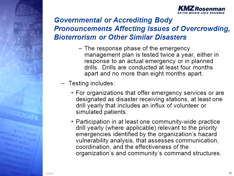 30 50086631 Governmental or Accrediting Body Pronouncements Affecting Issues of Overcrowding, Bioterrorism or Other Similar Disasters –The response ph