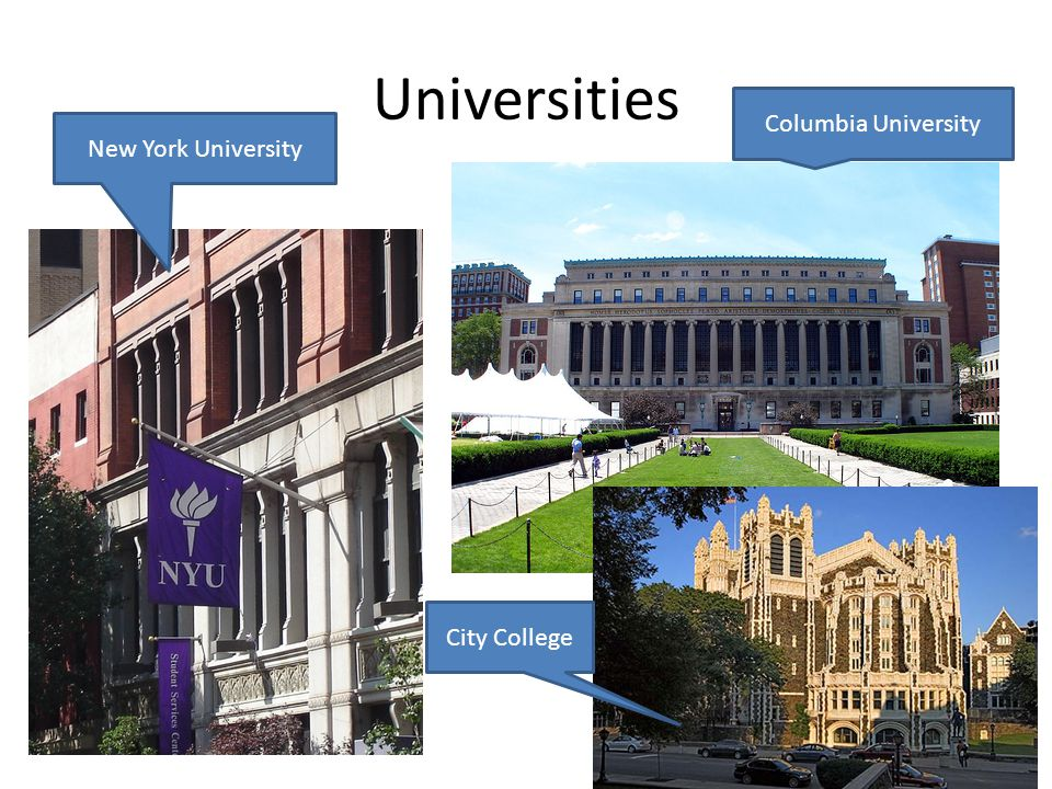 Universities New York University Columbia University City College