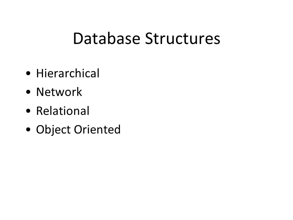 Database Structures Hierarchical Network Relational Object Oriented