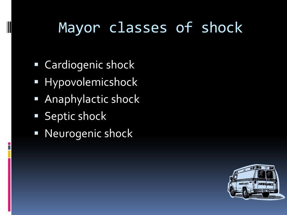 Mayor classes of shock  Cardiogenic shock  Hypovolemicshock  Anaphylactic shock  Septic shock  Neurogenic shock