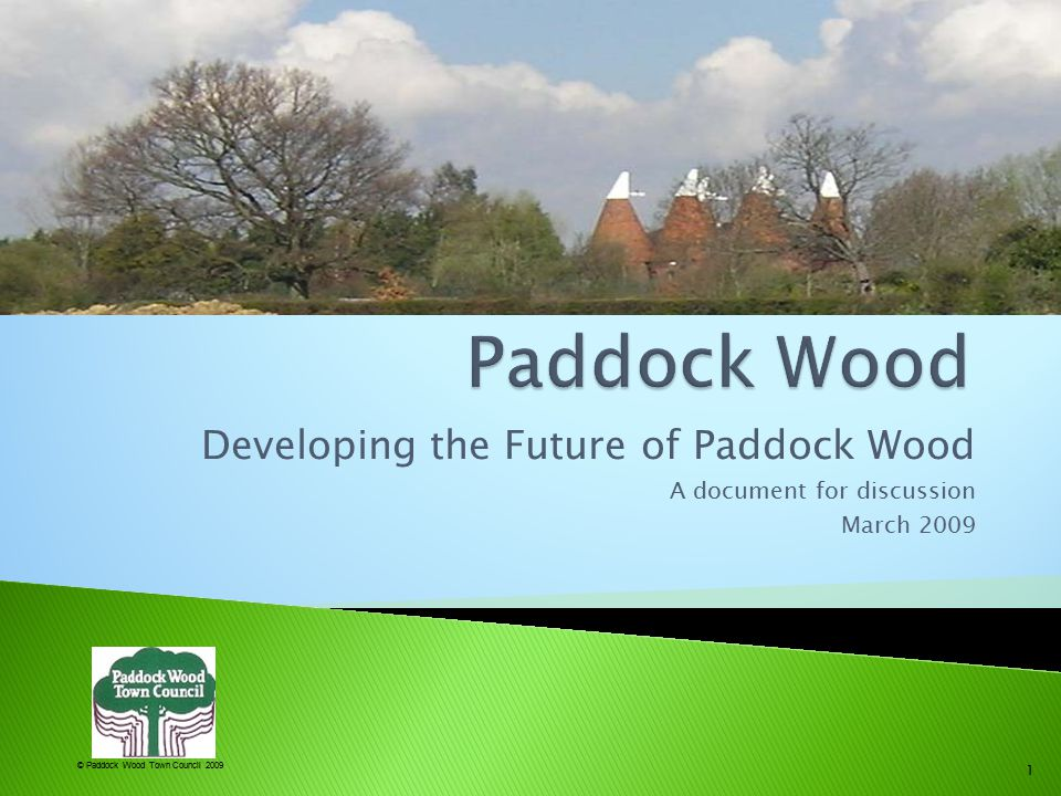 © Paddock Wood Town Council 2009  This document is a summary of informal discussions between Paddock Wood Town Councillors at the end of 2008.