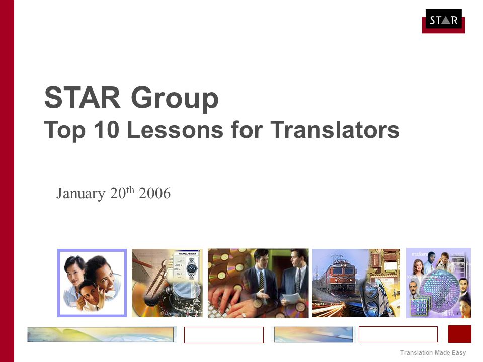 Translation Made Easy STAR Group Top 10 Lessons for Translators January 20 th 2006