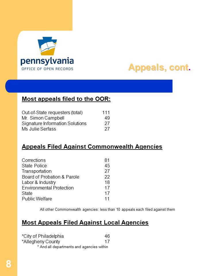 8 Appeals, cont Appeals, cont. Most appeals filed to the OOR: Out-of-State requesters (total) 111 Mr. Simon Campbell49 Signature Information Solutions