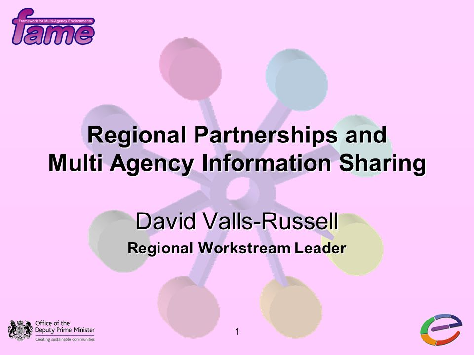 1 Regional Partnerships and Multi Agency Information Sharing David Valls-Russell Regional Workstream Leader