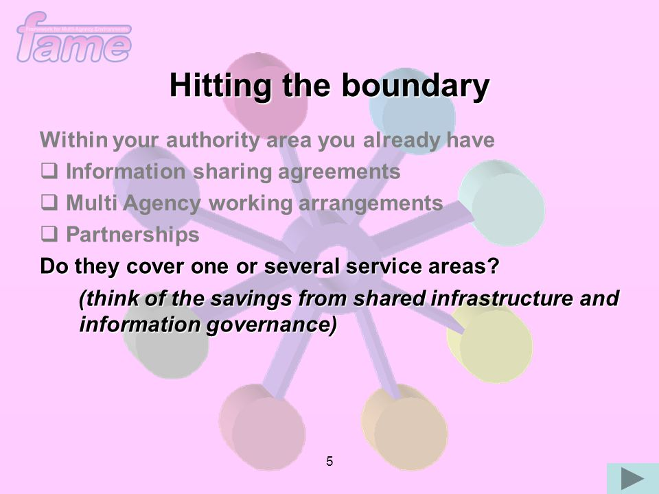 5 Within your authority area you already have   Information sharing agreements   Multi Agency working arrangements   Partnerships Do they cover one or several service areas.
