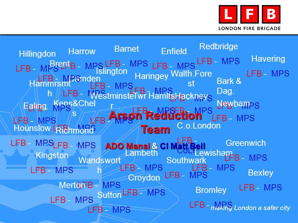 making London a safer city Arson Reduction Team ADO Mansi & CI Matt Bell Bark & Dag.