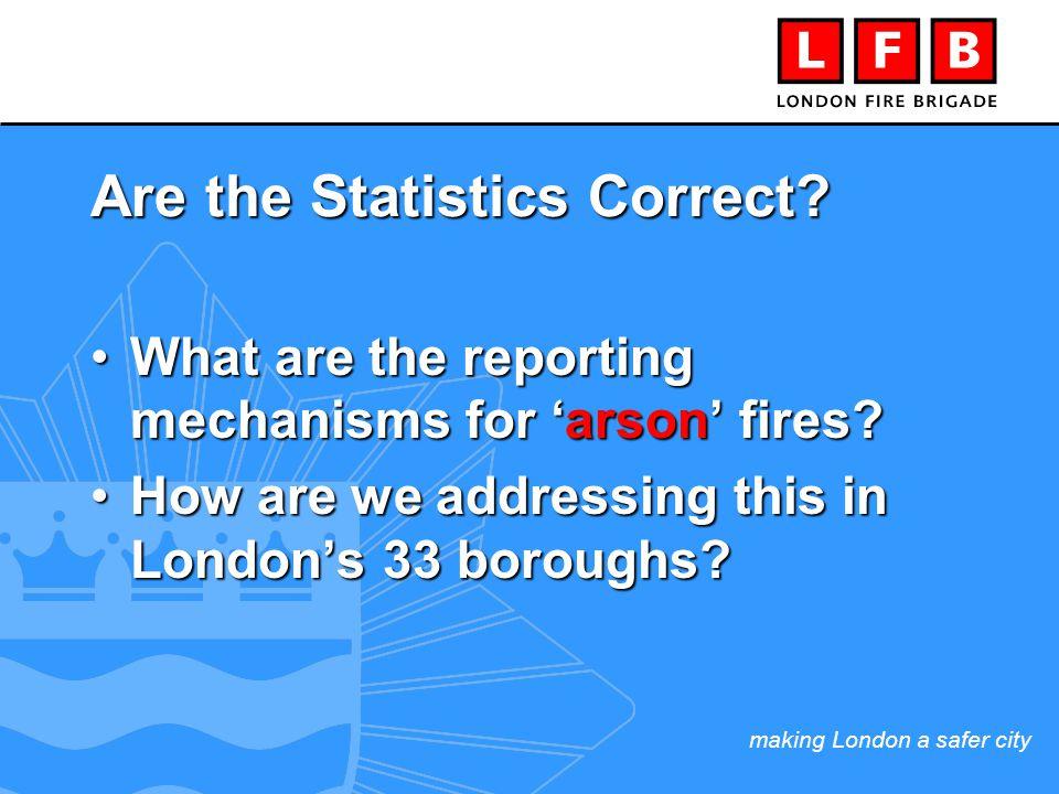 making London a safer city REPORTING & RECORDING … (in 1 London Area alone) London Fire Brigade 2,000 arson fires (over a 20 month period)2,000 arson fires (over a 20 month period) 200 FIT1 forms to the police200 FIT1 forms to the police 1,800 NOT reported !1,800 NOT reported .