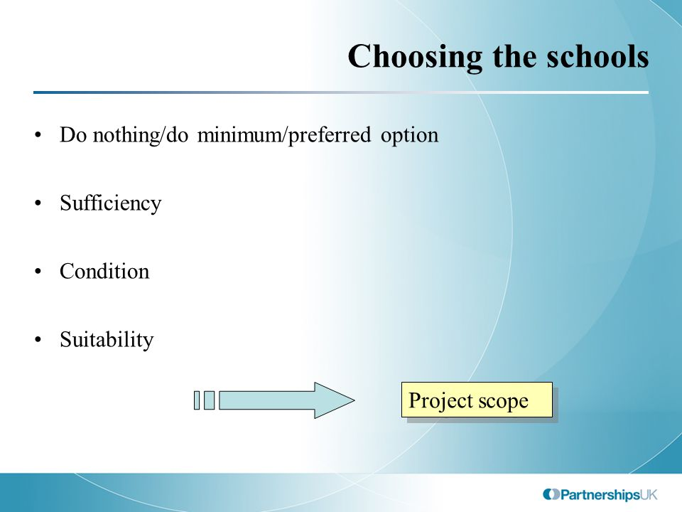 Choosing the schools Do nothing/do minimum/preferred option Sufficiency Condition Suitability Project scope