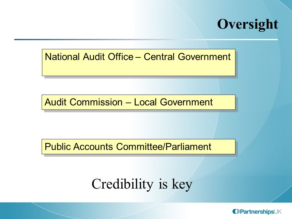 Oversight National Audit Office – Central Government Audit Commission – Local Government Public Accounts Committee/Parliament Credibility is key