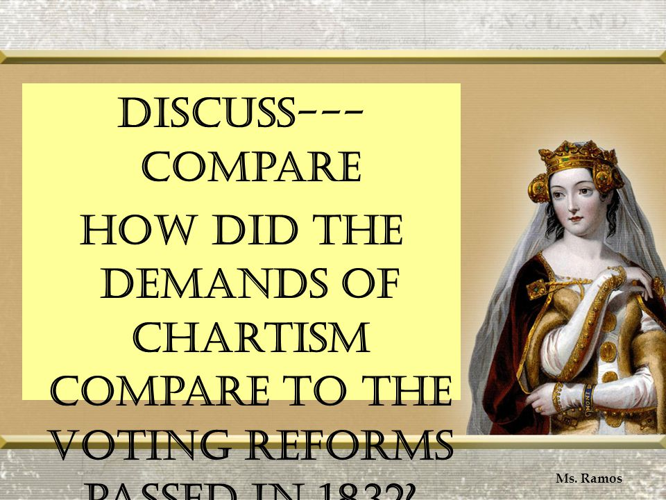 Discuss--- Compare How did the demands of Chartism compare to the voting reforms passed in 1832.