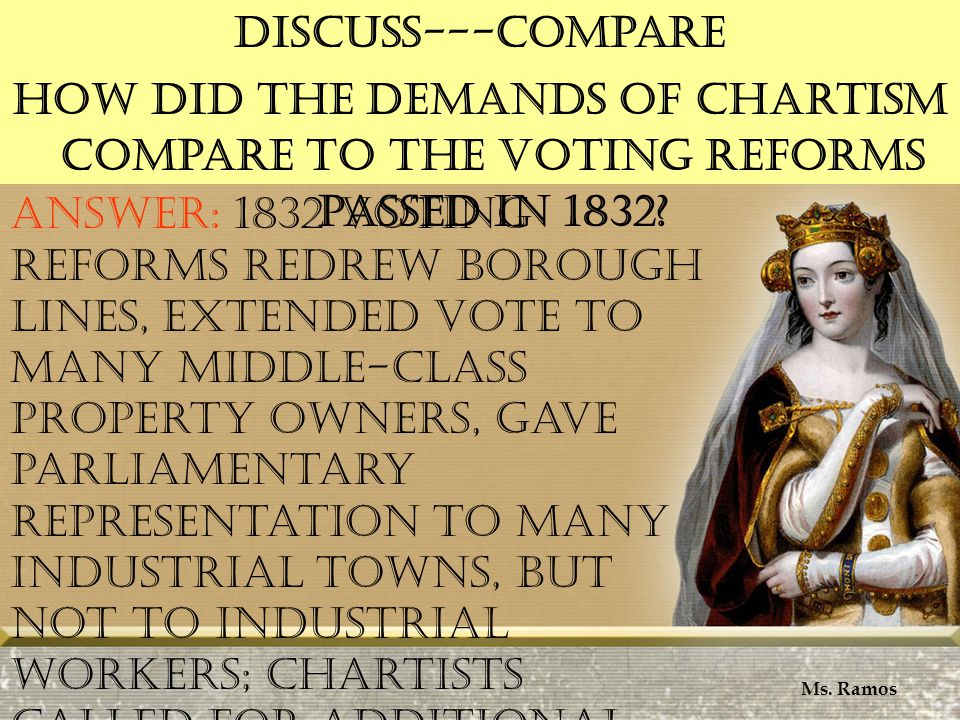 Discuss---Compare How did the demands of Chartism compare to the voting reforms passed in 1832.