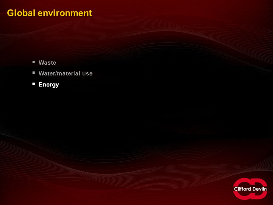 Global environment  Waste  Water/material use  Energy