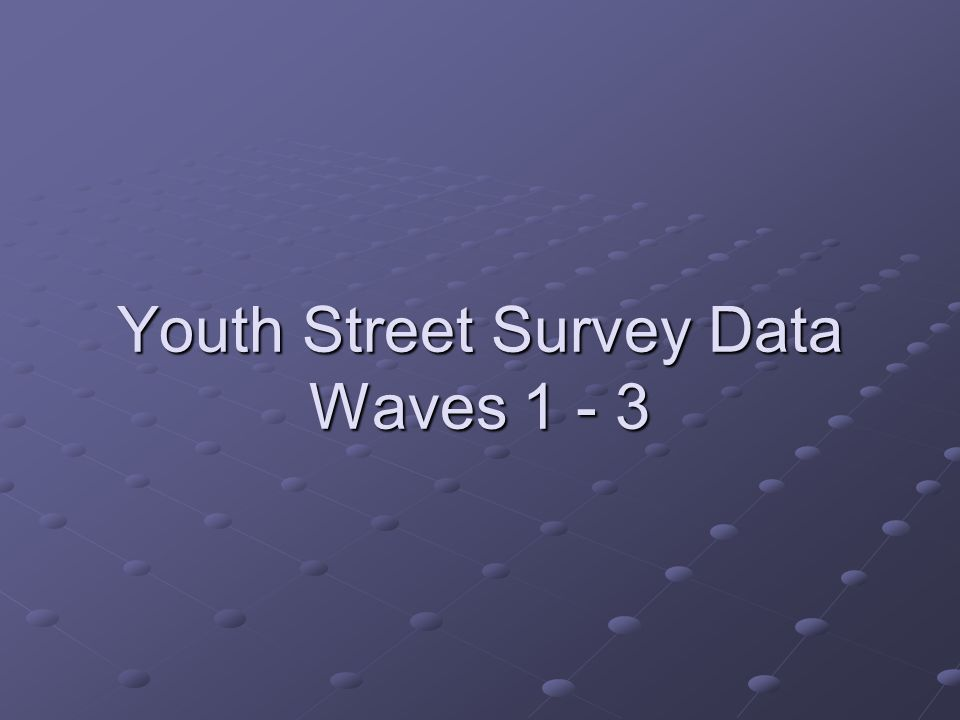 Youth Street Survey Data Waves 1 - 3