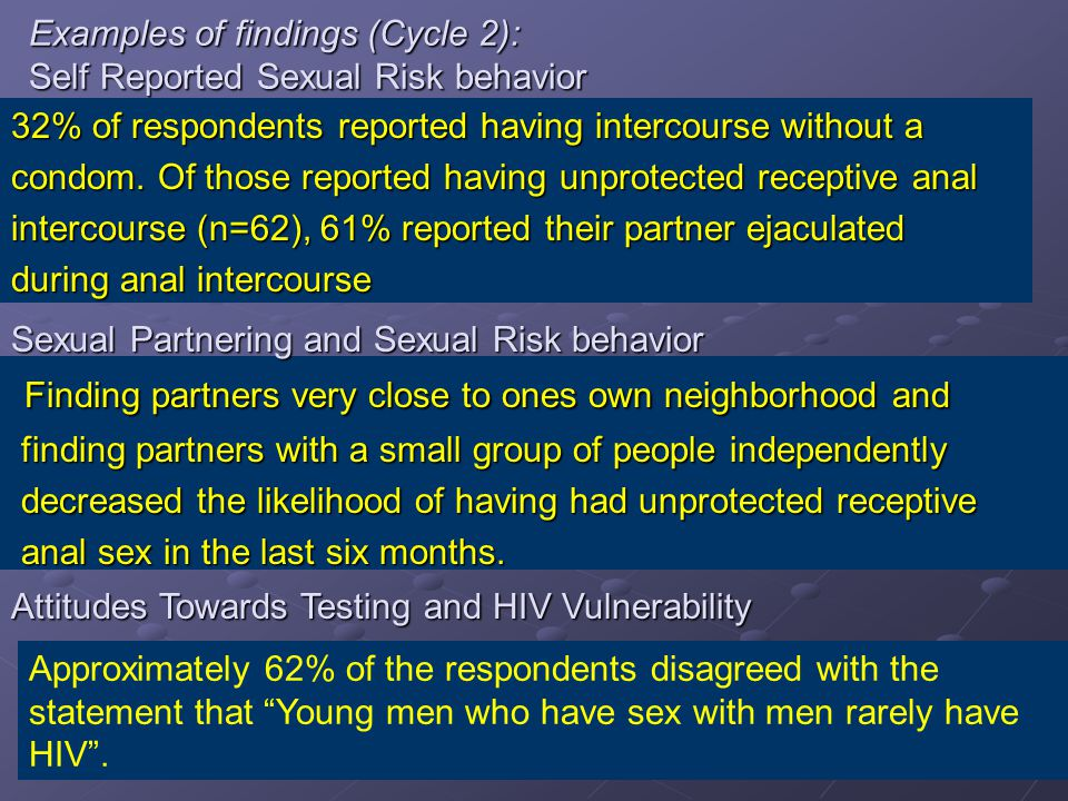 Examples of findings (Cycle 2): Self Reported Sexual Risk behavior 32% of respondents reported having intercourse without a condom.