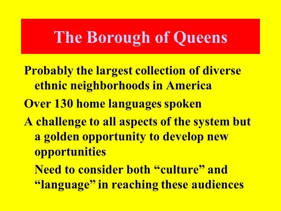 The Borough of Queens Probably the largest collection of diverse ethnic neighborhoods in America Over 130 home languages spoken A challenge to all aspects of the system but a golden opportunity to develop new opportunities Need to consider both culture and language in reaching these audiences
