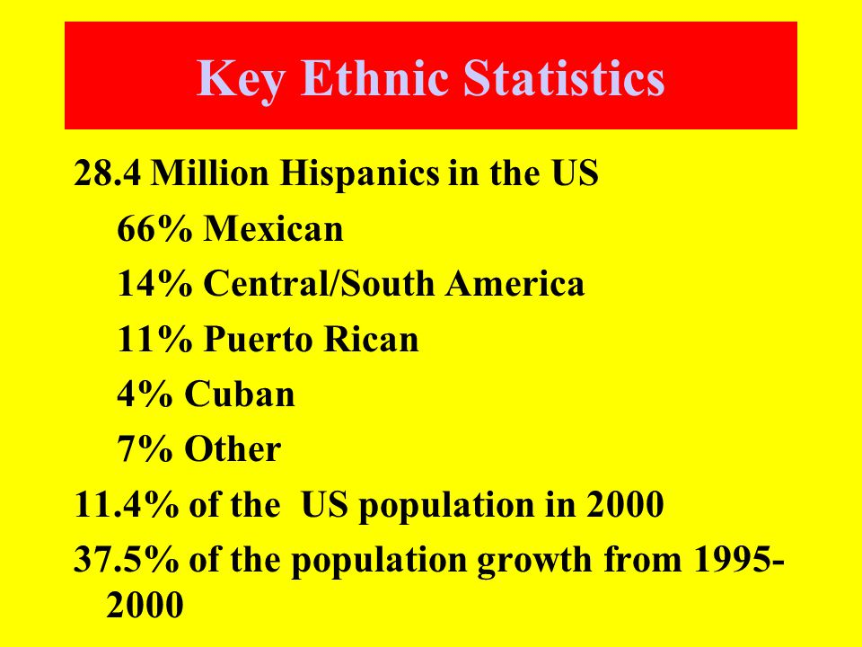 Key Ethnic Statistics 28.4 Million Hispanics in the US 66% Mexican 14% Central/South America 11% Puerto Rican 4% Cuban 7% Other 11.4% of the US population in 2000 37.5% of the population growth from 1995- 2000