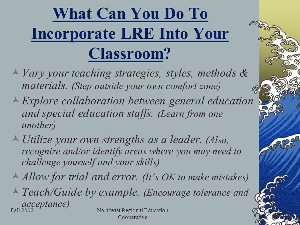 Fall 2002Northeast Regional Education Cooperative What Can You Do To Incorporate LRE Into Your Classroom.