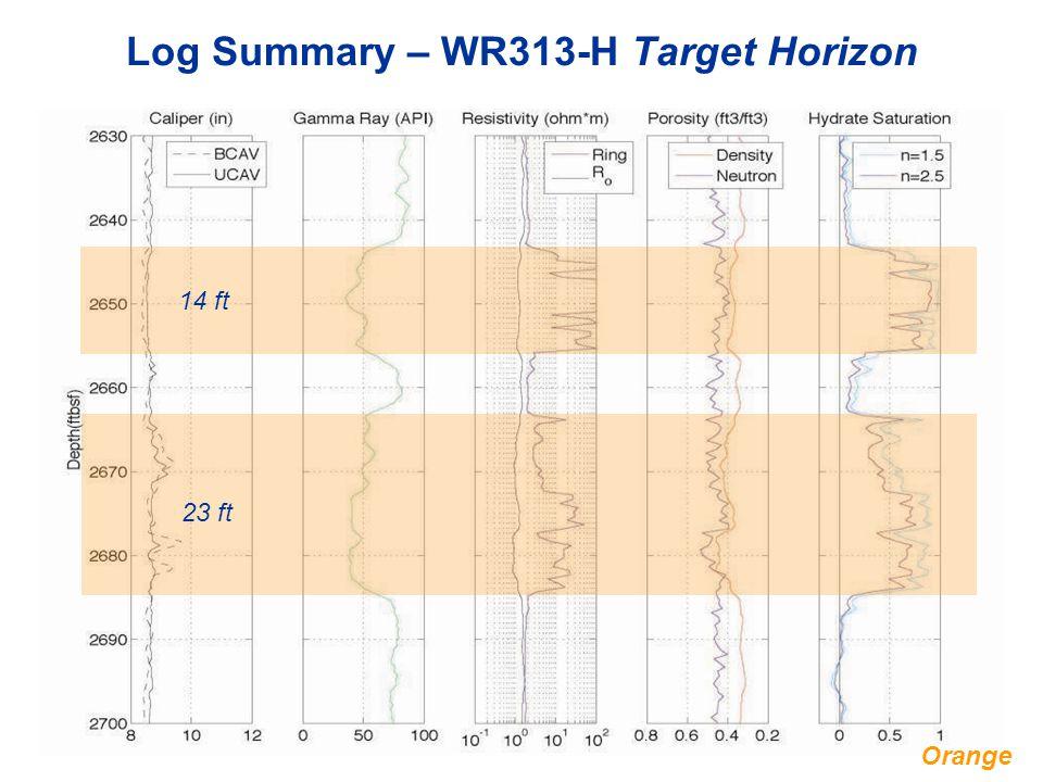 Log Summary – WR313-H Target Horizon 14 ft 23 ft Orange