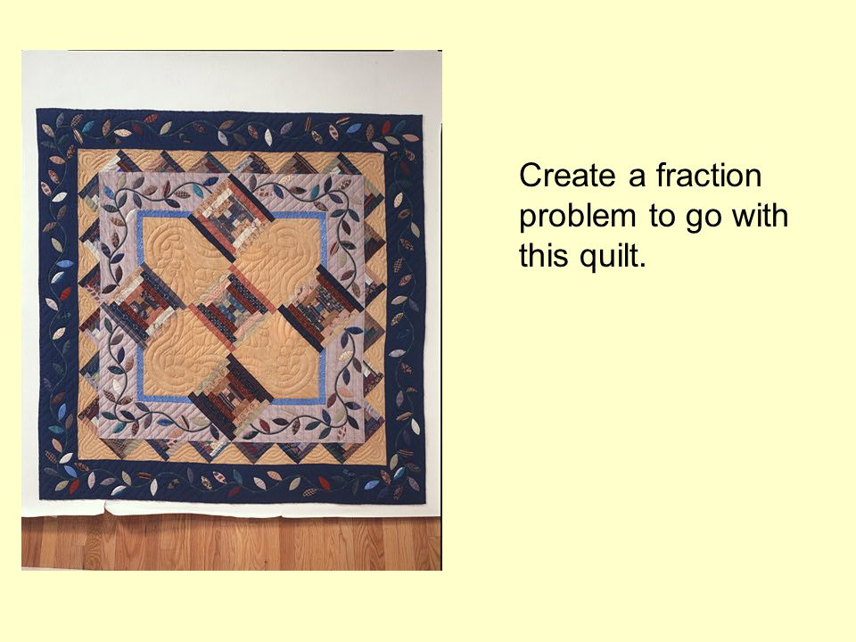 Create a fraction problem to go with this quilt.